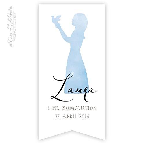 Personalisierte Aufkleber zur Kommunion Mädchen, Fähnchen | Mit deinem Wunschnamen/Wunschtext | 40x82 mm | 20, 50, 100, 200 oder 1.000 Stück