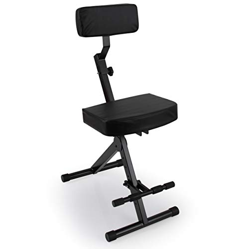 Portable Adjustable Musician Performer Stool - Folding Musicians Performance Chair, Drum Guitarist Keyboard Throne w/ Adjustable Padded Cushion Seat and Back, Foot Rest - Pyle PKST70
