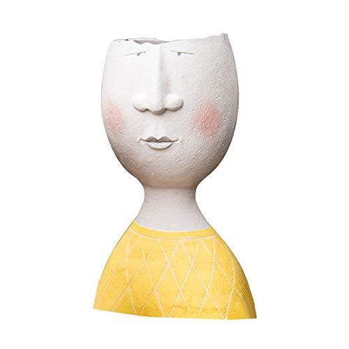 JYCRA Resin Sukkulenter Pflanzgefäß, dekorativer moderner Kopf Pflanzgefäß Kreativer menschlicher Gesicht Vase Blumentopf für Herb Cactus Indoor Outdoor Dekor