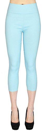 dy_mode High Waist Damen Capri Hose 7/8 Skinny Pants/Slim Fit - Figurformend - viele Farben - CLG077 (36/S, CLG077-Hellblau)