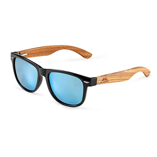 Amexi Herren Damen Polarisierte Sonnenbrille—Polarisierte Sonnenbrillen—hochwertige Holz sonnenbrille UV400 (Blau)