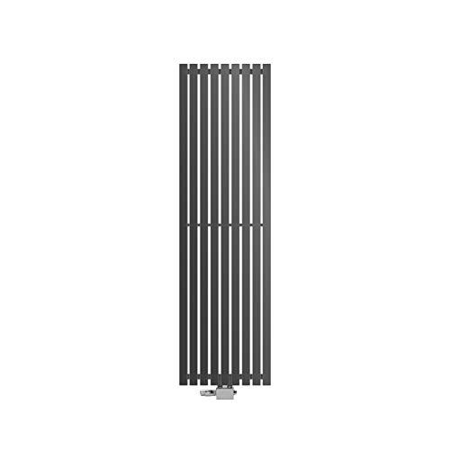 ECD Germany Stella Diseño Panel Radiador Conexión Central 480 x 1600 mm Antracita con Juego de Conexión Termostato Esquina Universal y Forma Recta Plana de una Sola Capa Vertical Baño Calefacción
