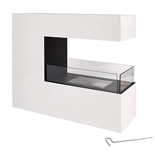 LILIMO Bodenkamin Bari | 100 x 35 x 90 cm | Freistehender Bio-Ethanol Kamin | in weiß