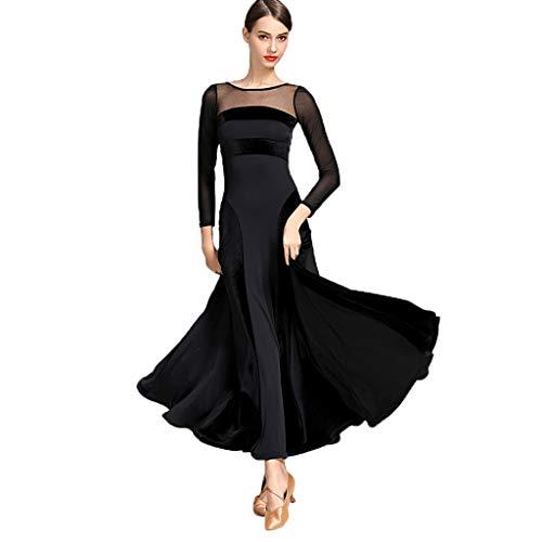 CX Hochwertige Samtspleiß Moderne Tanzkleider Standard Tanzbekleidung Für Frauen Performance-Bekleidung Tanzkostüm Spandex (Color : Black, Size : S)