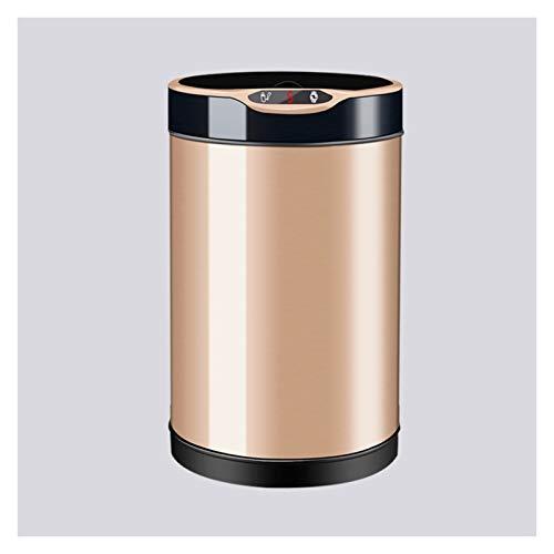 Bote de basura La inquietud de la inquietud de los hogares puede lata de basura automática con tapa con tapa de acero inoxidable de acero inoxidable con temporizador de cuenta regresiva LED para sala