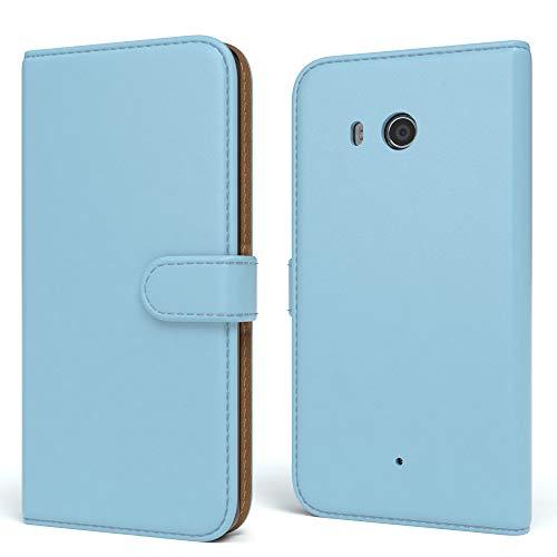 EAZY CASE Tasche für Sony Xperia Z1 Compact Schutzhülle mit Standfunktion Klapphülle im Bookstyle, Handytasche Handyhülle Flip Cover mit Magnetverschluss & Kartenfach, Kunstleder, Hellblau