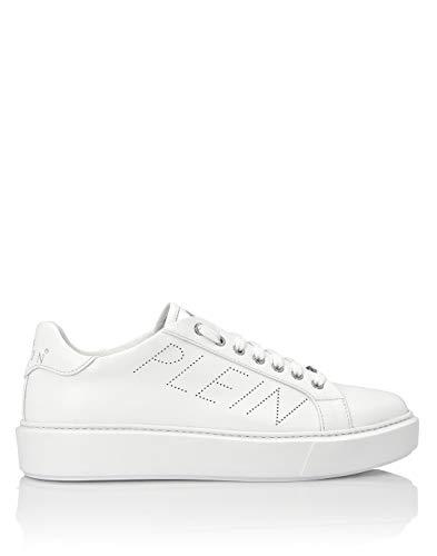 Plein Lo Top - Zapatillas de piel blanca con inscripción perforada