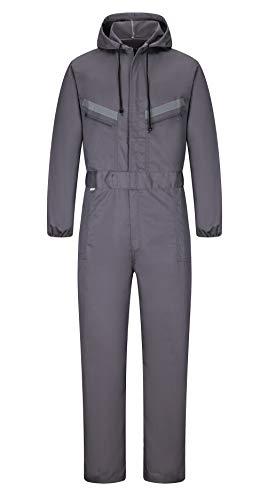 Yukirtiq Hombre Pantalones con Peto de Trabajo para jardín y Garaje, Encapuchado Mono de Trabajo Mecánico o Industria Cintas Reflectantes Resistente al Aceite para Mecánicos (XL, Gris)