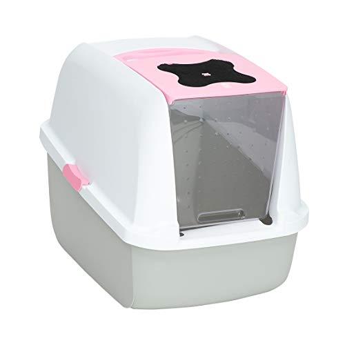Catit Katzentoilette mit Abdeckung, weiß/grau/pink