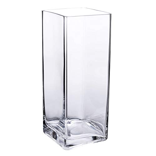 Diamond Star Tall Square Vase Home Decorative Flower Glass Vase Wedding Party Table Centerpieces(4'×4'×10')