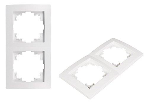 VARIATION Lichtschalter Schalter Taster Wechsel-Serien-Schalter Jalousie-Schalter Dimmer Antennen-Dose ISDN-Steckdose für RJ45 + RJ11 (UNIVERSAL Plastik-Rahmen 2-fach 150x80x8 mm WEISS)