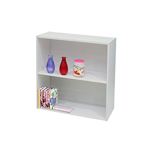 K and B Furniture Co Inc White Wood 2 Tier Bookcase