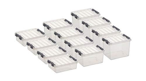 Aufbewahrungsbox - Set 12-teilig, je 4 Stück 1 - 2 - und 3 Liter Boxen, 1 Liter: 20 x 15 x 6 cm / 2 Liter: 20 x 15 x 10 cm / 3 Liter: 20 x 15 x 14 cm