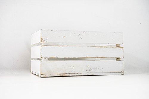 Caja de Madera de Fruta Blanco Vintage Sam, Cajas Tipo Fruta, Madera de Pino, Blanco Vintage, 49,5x32x25.5cm. (1 Caja) Contiene Imán Personalizable de Madera.