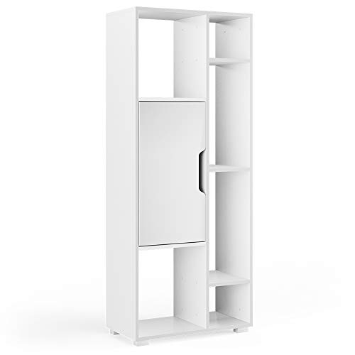 Vicco Raumteiler Domus offene Fächer weiß Bücherregal Standregal Aktenregal (6 Fächer mit Tür)
