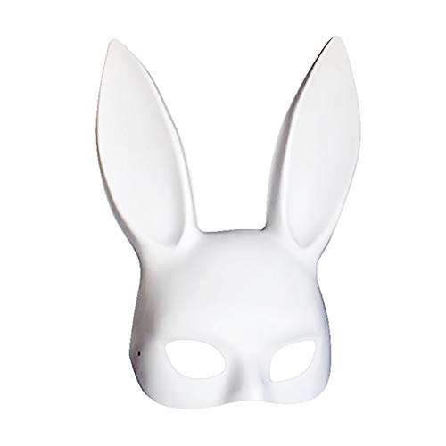 Soochat White Bunny Mask Masquerade Rabbit Mask Bunny Half Mask for Birthday Party Easter Halloween Costume Accessory
