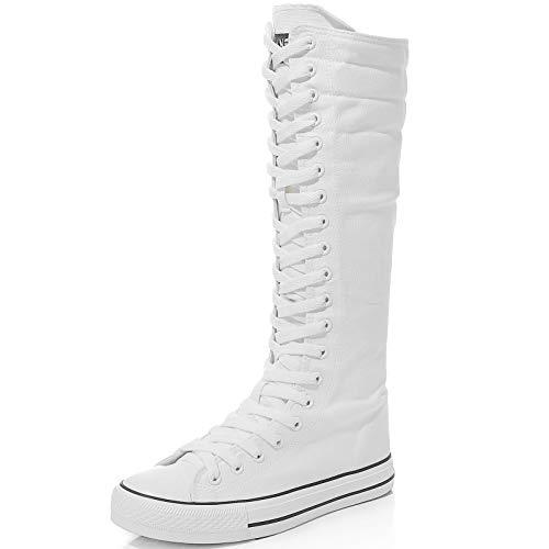 Jamron Mujer Moda Lona Botas de Baile Rodilla Alta Botas de Ciclismo Chicas Lujosa Zapatos Escolares Blanco 905 EU39.5