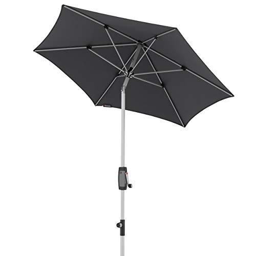 Knirps Sonnenschirm Automatic - Runder Kurbelschirm - Modernes Design - Starker UV-Schutz - 220 cm - Dunkelgrau