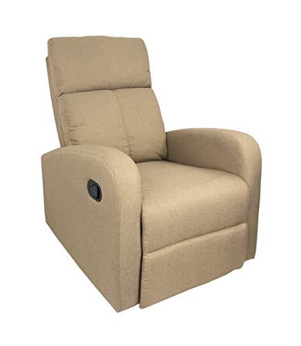 Totò Piccinni Poltrona Relax Reclinabile con Poggiapiedi Imbottita Confortevole (Manuale, Tessuto Beige)