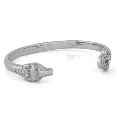 Akitsune Ferus Armreif | Armschmuck Frauen Herren Edelstahl Armband Cuff Bracelet Fuchs Minimalistisch Silber 60mm