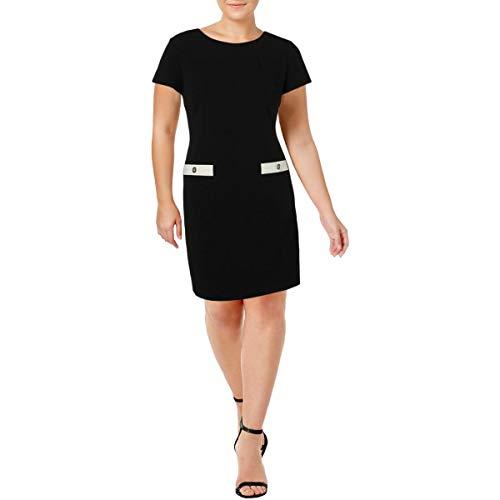 Tommy Hilfiger Women's Classic Scuba Crepe Two Pocket Dress, Ivory/Black, 4