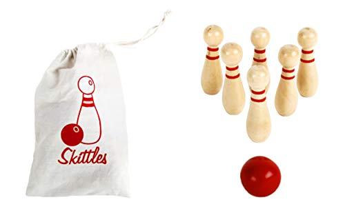 Anik-Shop KEGELSPIEL aus Holz 8cm 7-teilig Tischkegelspie Bowlingkugel Kegel Spiel Kinder Bowling Spiel 02