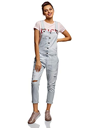 oodji Ultra Damen Jeans-Latzhose mit Seitentaschen, Blau, DE 34 / EU 36 / XS