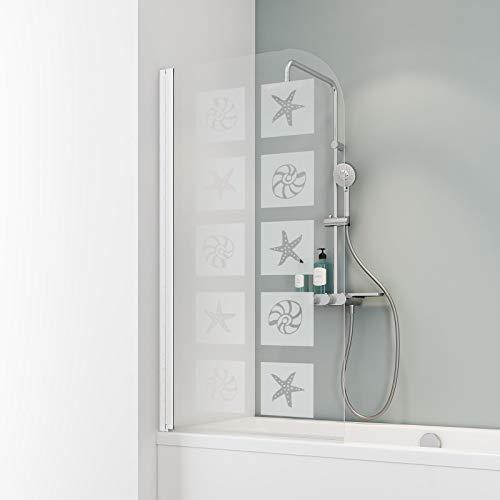 Schulte D1650 Duschwand Komfort, 80 x 140 cm, 5 mm Sicherheitsglas Muschel, alpinweiß, Duschabtrennung für Badewanne