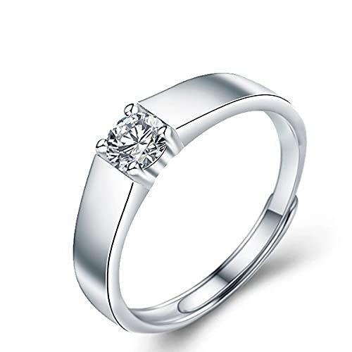 Anillo de plata de ley 925 para hombre, de oro blanco, con apertura de diamantes moissan, ajustable, día del padre, cumpleaños, boda, compromiso, regalo