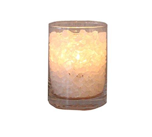 HIMALAYA SALT DREAMS – zoutkristal Polar vuur in glas, klein, Ø ca. 8 cm en hoogte ca. 11 cm, inclusief witte palmwas kaars.