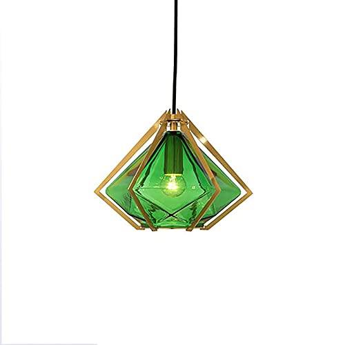 JINRU Modern Simplicity Chandelier Diamante en Forma de Vidrio Verde Colgante de Altura Ligera Ajustable para Sala de Estar Sala de Estudio Sala de Comedor y Dormitorio [Clase A Energy]
