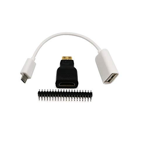 Logicstring 3 en 1 para Raspberry Pi Zero Adaptador Kit Mini-HDMI-Compatible a HDMI-Compatible Micro USB-USB Cable Hembra, Blanco