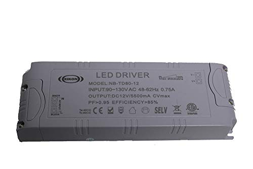 NovaBright Electra 80 Watt 12V TRIAC Dimmable LED Driver Transformer for LED Strip Lights Constant Voltage ETL Compatible w/Lutron & Leviton for Kitchen Cabinets, Crown Molding NB-TD80-12