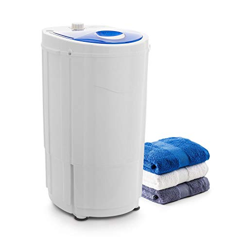 oneConcept Top Spin Compact Spin Dryer - Camping Spin Dryer, Gentle Pre-Drying, 1.5 kg Capacity, Space Saving, 45 Watts Power, Timer Function, Energy-Saving, Smooth Running, White-Blue