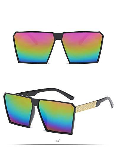 P-WEIAN Gafas de Sol Estilo Grande Moda Tendencia Gafas de Sol señoras Salvajes Personalidad Gafas, Marco Negro Arco Iris tabletas