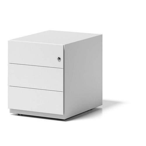 BISLEY Rollcontainer Note mit Griffleiste, 3 Universalschubladen, Metall, 696 Verkehrsweiß, 56.5 x 42 x 49.5 cm