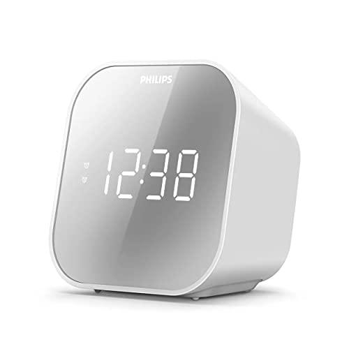 Philips Audio Wecker mit Radio, Radio mit verspiegeltem Display, Digitalradio mit Doppelalarm, Sleep Timer & Schlummer Funktion, tragbar mit Batterie-Backup, Radio mit USB-Anschluss, TAR4406/12, multicolor