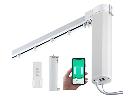 """SimpleSmart Smart WiFi Motor (Built-in Integration with Amazon Alexa and Google Home) Remote Control Smart Motorized Electric Curtain Tracks (Upto 118"""")"""