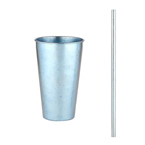 Taza de titanio puro de una sola pared con pajita, taza de c