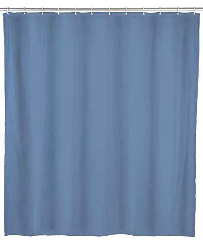 WENKO Duschvorhang Uni Blaugrau - wasserdicht, leicht zu pflegen, Polyethylen-Vinylacetat, 200 x 180 cm, Blau