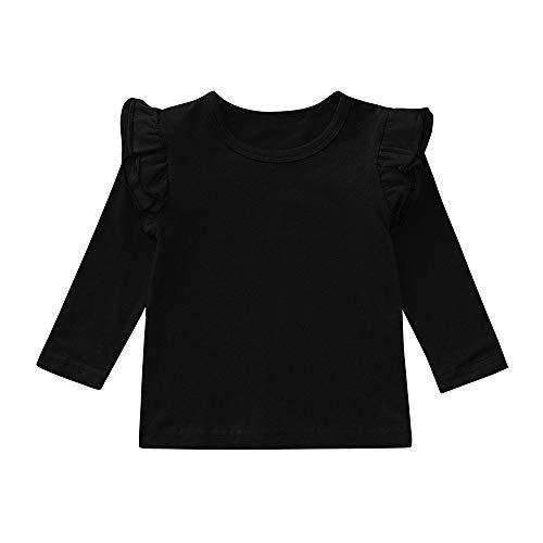 XXYsm Baby Mädchen Langarmshirt Pullover Tops Oberteile Langarm T-Shirts Blusen Schwarz 90/12-18 Monate