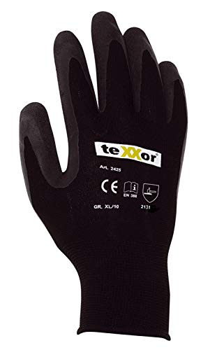 (12 Paar) teXXor Handschuhe Polyester-Strickhandschuhe Latex BESCHICHTET 12 x schwarz/schwarz XL/10