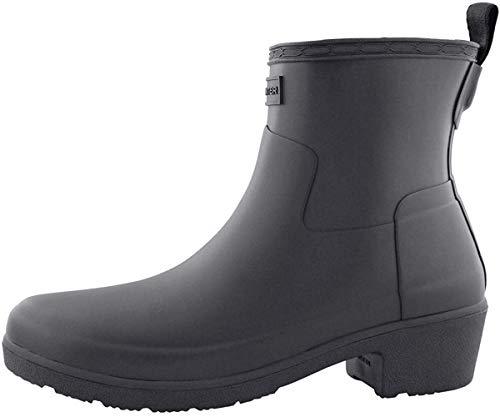 HUNTER Refined Low Heel Ankle Biker Rain Boots Black 6 M