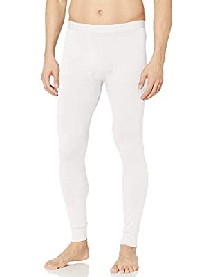 Amazon Essentials Men's Lightweight Performance Base Layer Long John Pant, White, Medium