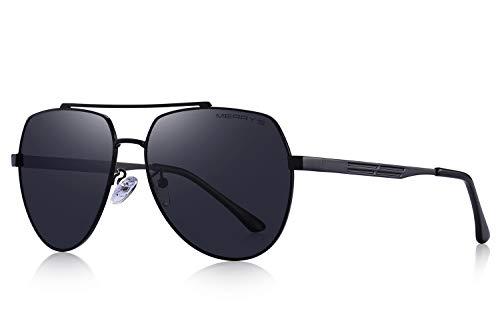 MERRY'S Men Classic Pilot Sunglasses HD Polarized Shield Sunglasses for Mens Driving UV400 S8175(Black, 60)