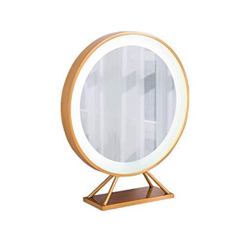 Heqianqian-Home Miroir De Maquillage Métal et Verre Miroir de Maquillage Table Ronde cosmétique LED Lumineux Miroir de Maquillage (Gold) Idéal pour Les Cadeaux (Couleur : Or, Taille : 55x57cm)
