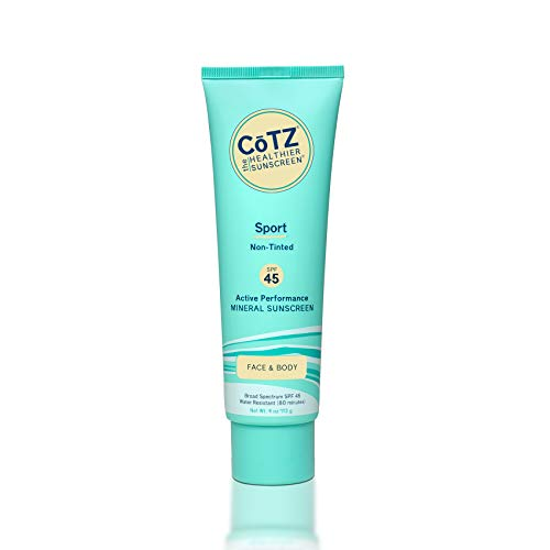 CoTZ Sport Non-Tinted Mineral Sunscreen for Face & Body; Broad Spectrum SPF 45; Plant-based 4 oz / 113 g