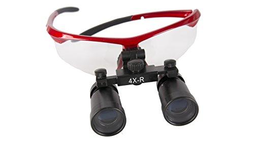 GoDen 高倍率拡大鏡 メガネ式拡大鏡 双眼ルーペ 虫眼鏡 4.0倍/5.0倍/6.0倍 (レッド, 4倍)