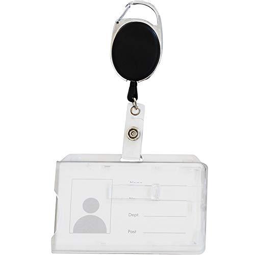 Porte-carte de Sécurité avec enrouleur ou tour de cour pour 2 Cartes Format 54 x 86 mm Boîtier rigide Fermé Transparent avec ou sans porte badge (Enrouleur, 1)