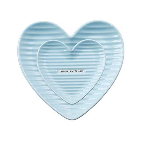 Vajilla de Plato de Cena Nordic Ins placa de cerámica del juego de 2 piezas, en forma de corazón creativo irregular Inicio occidental Ensalada Plato Placa Placa del desayuno de 8 pulgadas Roja China P